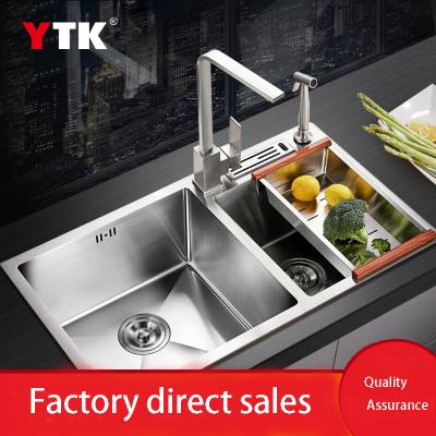 Manual sink 304 stainless steel manual pot thickened water bucket sink kitchen sink sink double slot