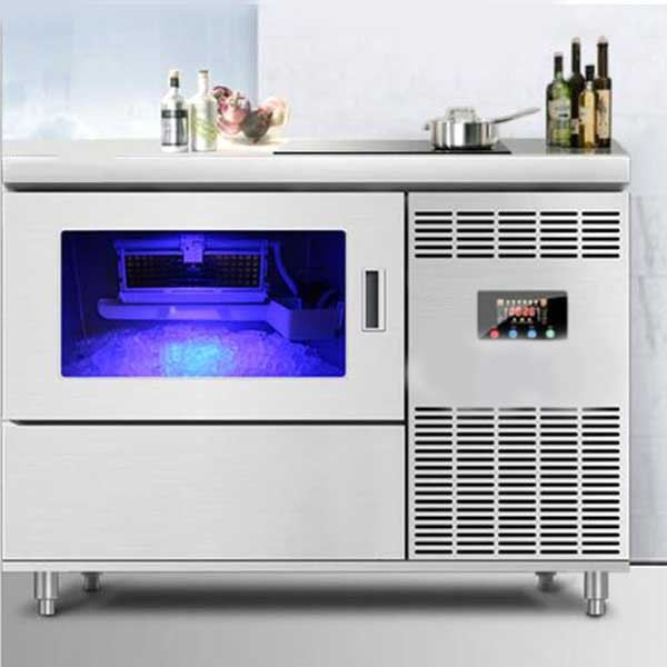 Kitchenware Desktop Ice Machine/Bar Commercial Automatic Square Ice Tea Shop Equipment/Ice Machine Console