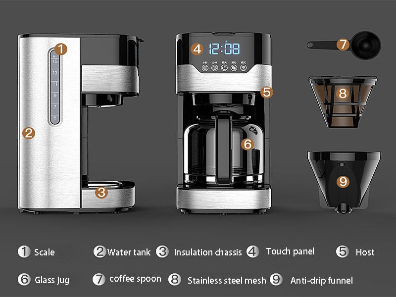 Factory direct home American coffee machine Drip filter coffee pot automatic tea machine