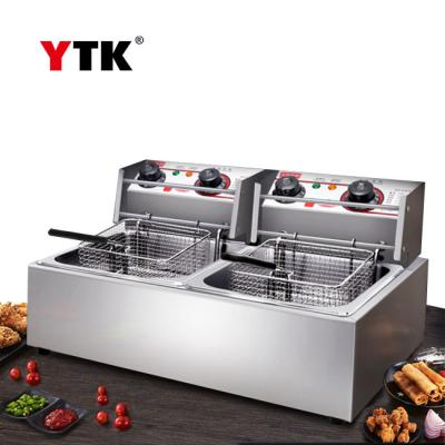 Electric fryer commercial single cylinder double cylinder fryer stainless steel thick fried chicken ribs electric fryer