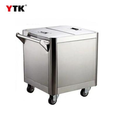 Factory direct wheeled mobile stainless steel 50KG flour car rice flour car hand push type sugar powder storage car
