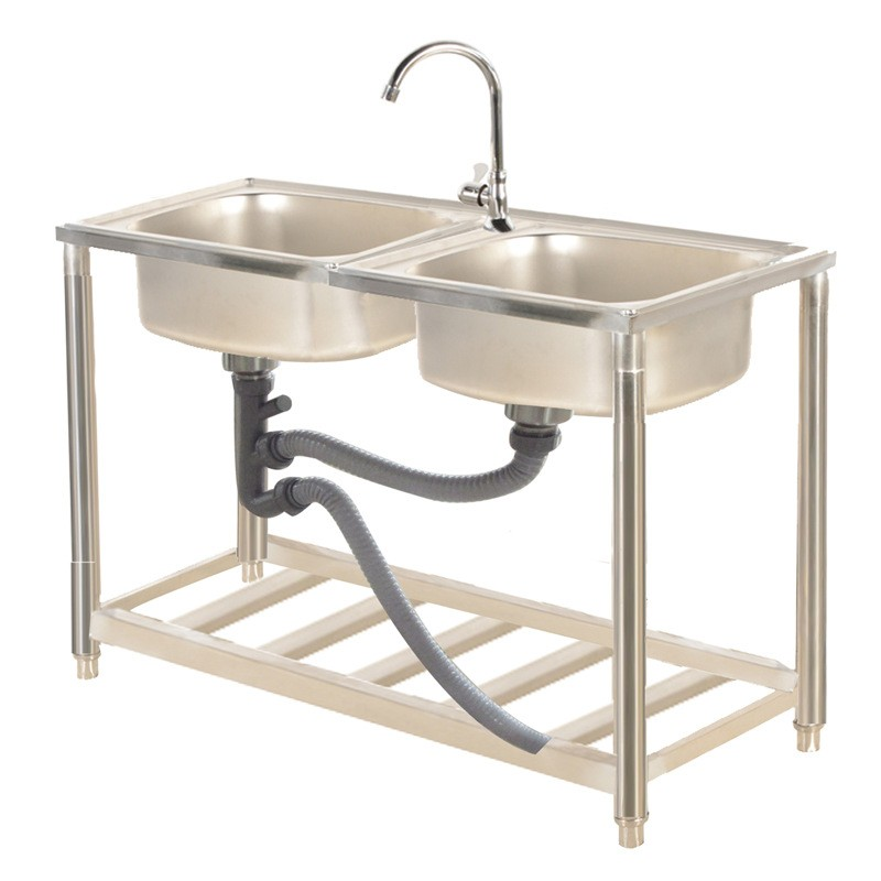 Stainless steel sink kitchen sink household sink single and double trough pool with simple sink with bracket