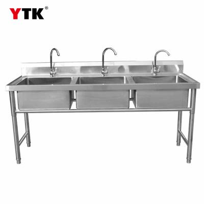 Manufacturers wholesale stainless steel three-slot sink kitchen sink sink 304 hotel commercial stainless steel sink