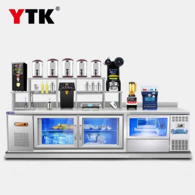 Water bar tea shop equipment full kitchen stainless steel refrigerated workbench ice machine console equipment